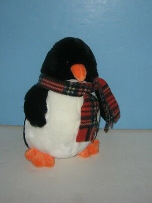 "9"" Bean Plush ""Chatters"" The Penguin w/ Plaid Scarf - Machine Washable"