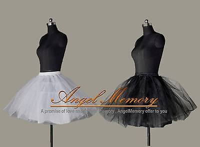 Black White Tulle Short Knee Lengt Crinoline Petticoat 3 Layer Underskirt US