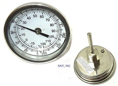 "Thermometer 3"" Face 2-1/2"" Stem 0-250 Degree F/c 1/2 Npt Back Home Brewing 945P4"