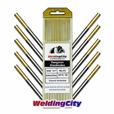 "10-pk TIG Welding Tungsten Electrode 1.5% Lanthanated (Gold) 3/32""x7"" US Seller"