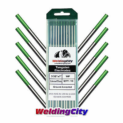 "10-pk TIG Welding Tungsten Electrode Pure (Green) 3/32""x7"" 