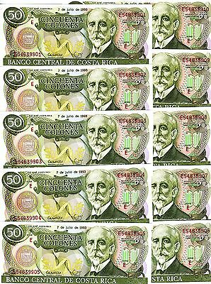 LOT, Costa Rica, 10 x 50 Colones, 7-7-1993, P-257 UNC -> the last