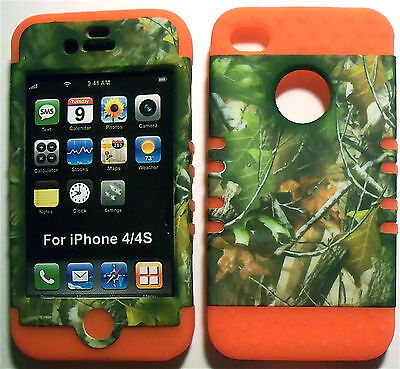 Camo Leaves Orange Skin Rubber Apple iPhone 4 4S Hybrid 2 in 1 Hard Cover Case