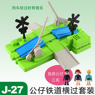 Tomy Train Scenic Part- J-27 Plakids  Crossing Set W/ Music &  3 Figures