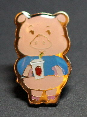 MCDONALDS PIN- CUTE PIG HOLDING A DRINK, LOOK!!!