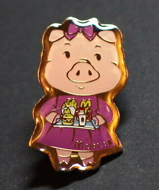 MCDONALDS PIN- CUTE PIG HOLDING A MEAL, LOOK!!!