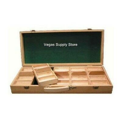 Oak 500 Chip Poker Case With Five Removeable Trays