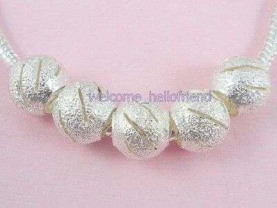 50pcs Silver Plated Carved Stardust Beads Fit Bracelet ST09