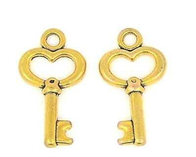 5  x Antique Gold Key Charms LARGE Alice in Wonderland Keys Hearts 46.5m