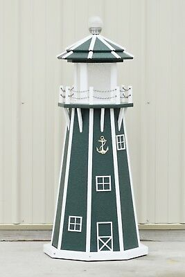 4' Octagon Electric and Solar Powered Poly wood Lawn Lighthouse, Green/white