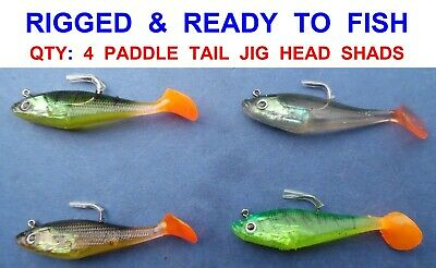 """4pk 4/"""" CURLY TAIL JIG HEAD SAND EELS GAME COARSE SEA FISHING SPINNING ROD LURES"""