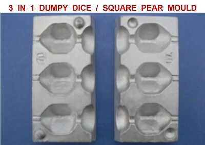 3 IN 1 DUMPY DICE MOULD 60g FOR CARP FISHING LEADS SQUARE PEAR LEAD LINE WEIGHTS
