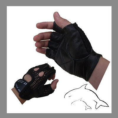 --Quality-- No Sweat Leather Mesh GYM Gloves--- weight cycling exercise #A033H