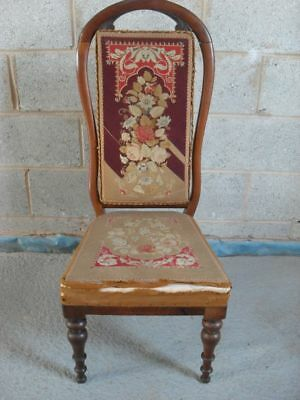 Victorian Mahogany and original floral tapestry upholstered nursing chair
