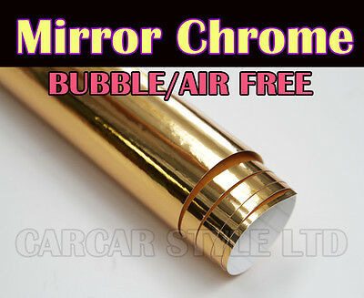 Mirror Chrome【GOLD】0.3m(11.8in) x 1.52m(59.8in) Wrap Vinyl Film Air/Bubble Free