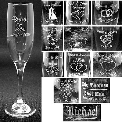Personalized Toasting Flutes Laser Engraved Wedding Party Gifts Customized