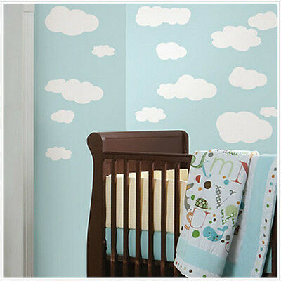 CLOUDS WHITE wall stickers 19 big decals nursery room decor baby