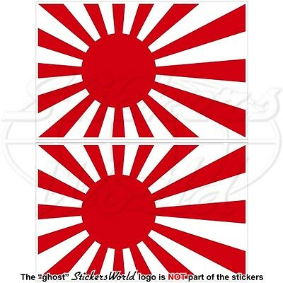 "JAPAN Japanese Rising Sun Flag 3"" (75mm) Vinyl Bumper Stickers, Decals x2"