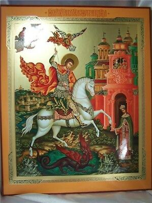 "Gold Large Wooden Wood Icon Saint George Russian Plaque Military 15"" Wall"