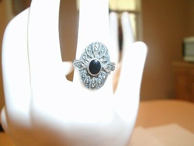 Vtg Sterling Marcasite Ring With Onyx Stone Approx. Size 6
