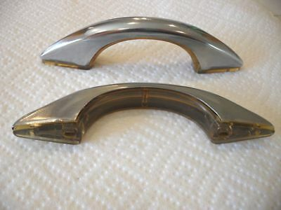 2 Vtg 1950s NOS CHROME Drawer or Cabinet Door Pulls Handles Translucent bases