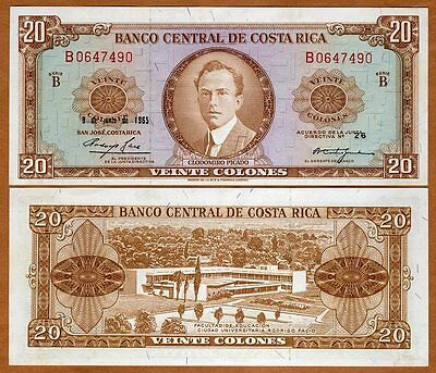 Costa Rica, 20 Colones, 1965, P-231, UNC > Scarce