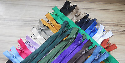 "8""/ 20Cm Autolock Closed End Nylon X 10 Zips. No.3 Weight. Various Colours ***"