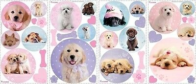 PUPPIES wall stickers 37 big colorful decals puppy dog bones kids room decor