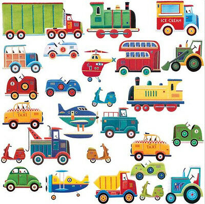TRANSPORTATION wall stickers 26 decals car truck bus room decor