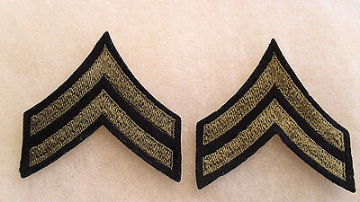 Pair Wwii Us Army Corpl Chevrons Od Embroidered On Black Felt