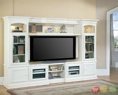 HARTFORD 4 PIECE Traditional Vintage White Wall Unit TV ...