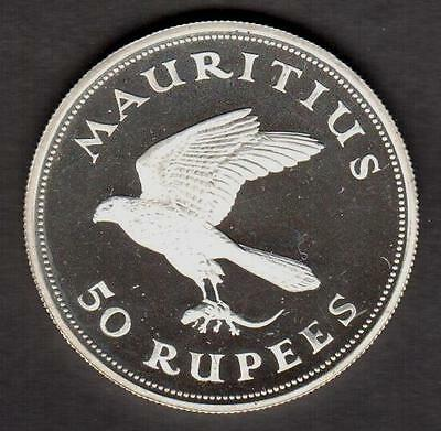 "Z Mauritius 1975 50 Rupees Silver Impaired Proof ""kestrel"" See Pictures"