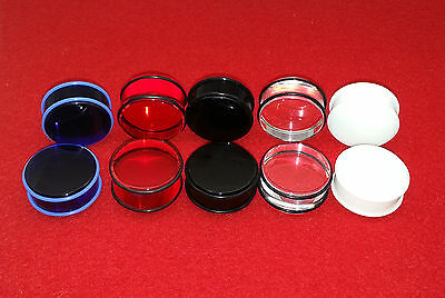 "Popular Acrylic No Flared Plain Plugs Grooves With Black O Ring(1-1/8 to 2""inch)"