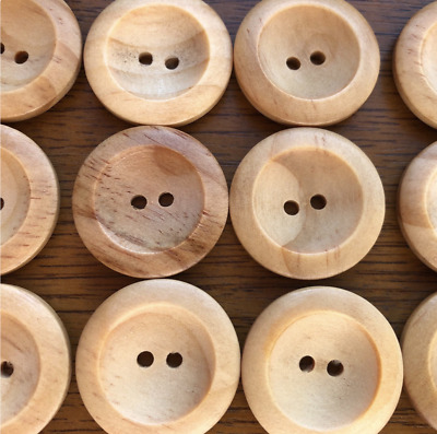 2-Hole Natural Wooden Buttons X 10 - Wood - 14Mm- 35Mm Free 1St Class Postage!
