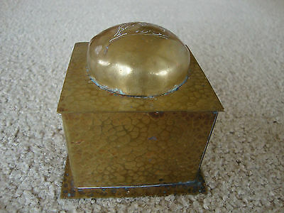 Antique brass inkwell arts and crafts Art Nouveau floral desk etched box case