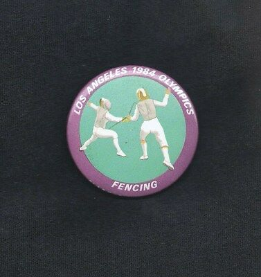 1984 SUMMER OLYMPICS PINBACK ~ FENCING ~ VG+ Condition
