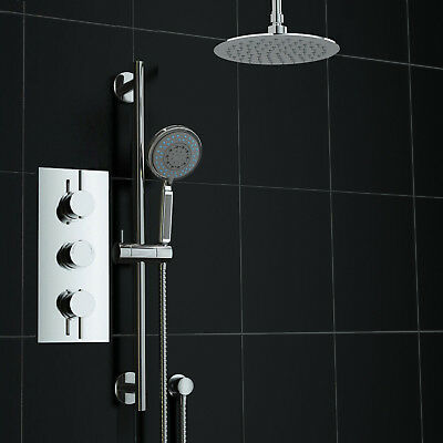 Concealed 2 Way Round Ceiling Mounted 200mm Thermostatic Mixer Shower with Riser