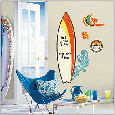 "SURF'S UP wall stickers 11 decals dry erase surfboard beach ocean MURAL 36"" surf"