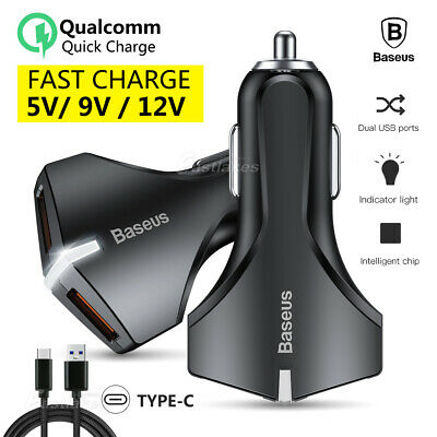 2in1 BASEUS USB Car Charger Fast Cable for Samsung S10 S9 S8 Plus Note 10 9 8 5G