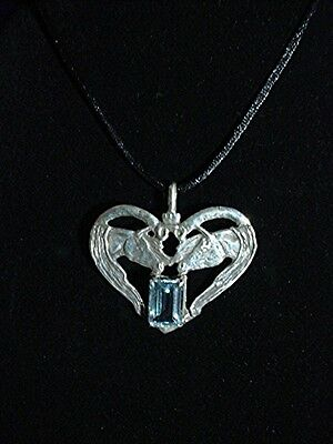 Original Arabian Horse Blue Topaz necklace Sterling Silver by Cindy A. Conter
