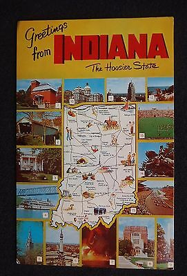 1960s State Map of Indiana Greetings The Hoosier State Icons Landmarks IN PC