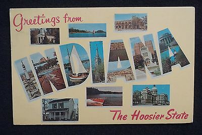 1966 Large Letter Greetings from Indiana The Hoosier State IN Postcard