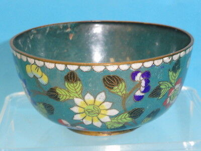 ANTIQUE EARLY 20 c. CHINESE CLOISONNE ENAMELED FLORAL BOWL