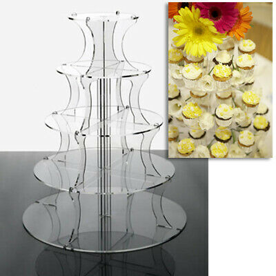 Cupcake Stand 5 Tier - ROUND CLEAR Perspex Tower for Weddings and Party Displays