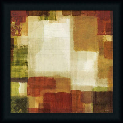 Earth and Fire I Orange Red Contemporary Abstract Framed Art Print Wall Décor