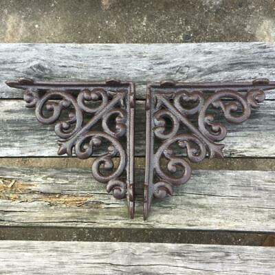 2 Flower Wall Shelf Brace Shelf Bracket Corbel Cast Iron Rustic FREE SHIPPING