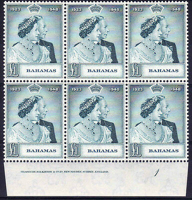 Bahamas 1948 £1 Rsw Imprint Block Sg 195 Mint.
