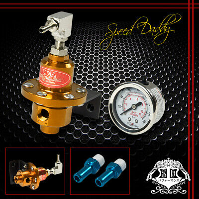 UNIVERSAL ALUMINUM 160 PSI ADJUSTABLE kPa FUEL PRESSURE REGULATOR+OIL GAUGE GOLD