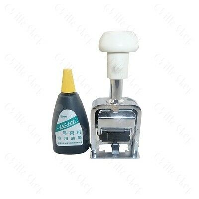 7 Digit Automatic Numbering Machine Hand Stamp with  extra 50ml Black Color Ink