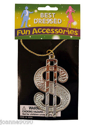 Dollar Medallion Chain Necklace Gangster Rapper Fancy Dress Costume Accessory